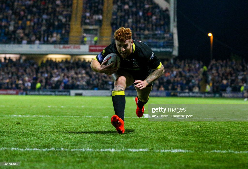 Warrington Wolves' Harvey Livett scores his hat-trick during the Betfred Super League Round 14 match between Leeds Rhinos and Warrington Wolves at Headingley Carnegie Stadium on May 4, 2018 in Leeds, England.