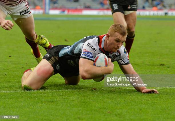 Warrington Wolves' Jack Hughes goes over to score a try during day one of the Betfred Super League Magic Weekend at St James' Park Newcastle