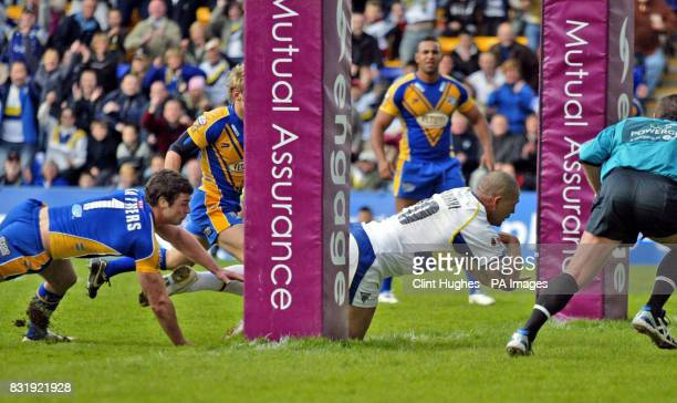 Warrington's Paul Rauhihi crosses the line to score against Leeds during the Engage Super League match at the Halliwell Jones Stadium Warrington