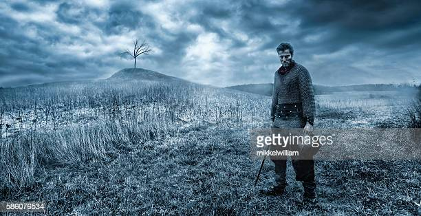 warrior ready to fight with sword on battlefield - warrior person stock photos and pictures