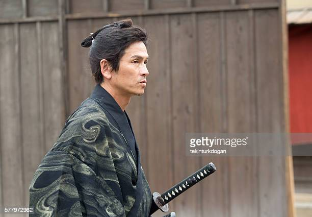 warrior samurai costume man in toei studios at kyoto japan - lypsekyo16 stock pictures, royalty-free photos & images