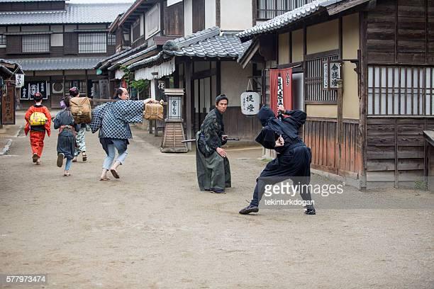 warrior samurai ninja fight in toei studios at kyoto japan