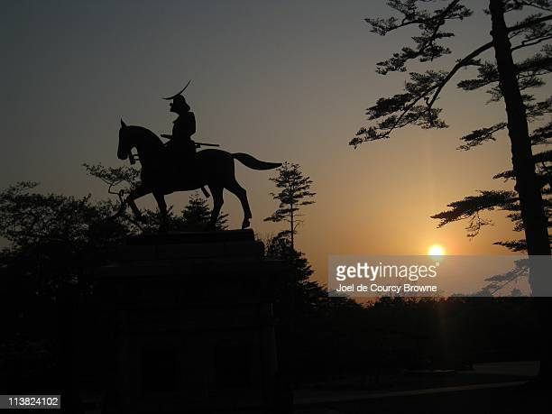 Warrior Statue at Sunset