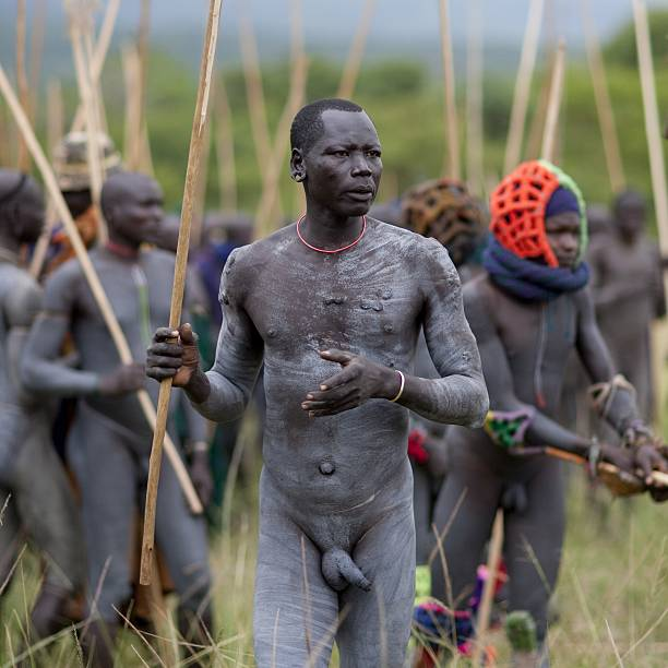 Warrior Wearing Head Padding At Donga Stick Fighting