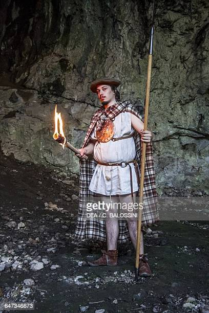 Warrior with a spear cloak and torch Illyrian civilisation mid3rd century BC Historical reenactment