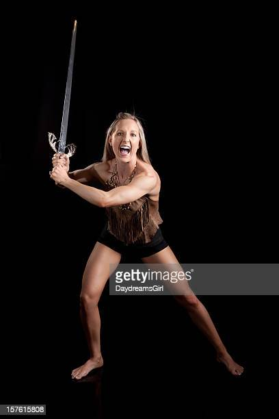 Warrior Woman Holding Sword Ready to Fight