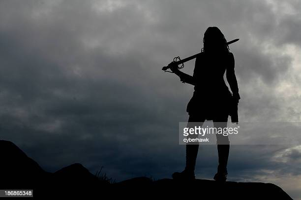 warrior woman silhouette - warrior person stock photos and pictures