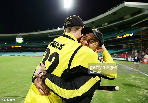 Warriors captain Adam Voges celebrates victory with Warriors coach Justin Langer after winning the Matador BBQs One Day Cup Final match between...
