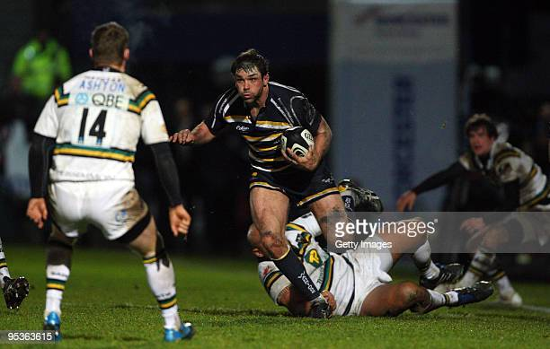Warriors captain Pat Sanderson in action during the Guinness Premiership match between Worcester Warriors and Northampton Saints at Sixways Stadium...