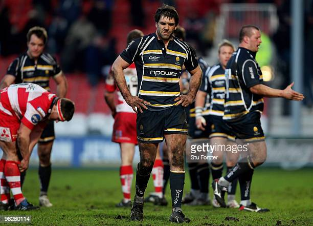 Warriors captain Pat Sanderson looks on dejectedly on the final whistle during the LV Anglo Welsh Cup match between Gloucester and Worcester Warriors...
