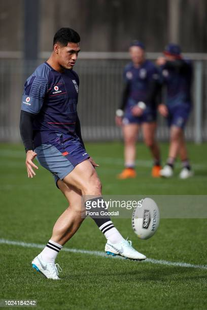Warriors captain Roger TuivasaSheck during a New Zealand Warriors NRL media opportunity at Mt Smart Stadium on August 27 2018 in Auckland New Zealand