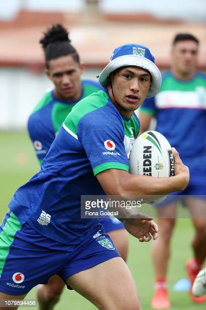 Warriors captain Roger TuivasaShek looks to pass during a New Zealand Warriors NRL media opportunity at Mount Smart Stadium on December 10 2018 in...