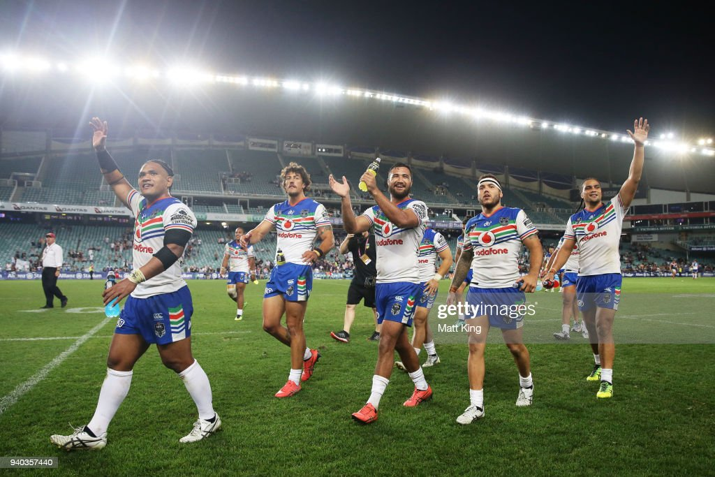 Warriors celebrate victory during the round four NRL match between the Sydney Roosters and the New Zealand Warriors at Allianz Stadium on March 31, 2018 in Sydney, Australia.