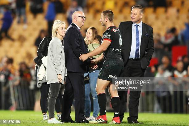 Warriors CEO Cameron George congratulates Blake Green after winning the round nine NRL match between the New Zealand Warriors and the Wests Tigers at...