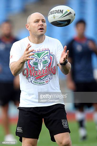 Warriors coach Andrew McFadden catches the ball during a New Zealand Warriors NRL training session at Mt Smart Stadium on April 9, 2014 in Auckland,...