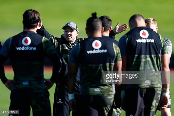 Warriors coach Andrew McFadden during a New Zealand Warriors NRL training session at Mt Smart Stadium on June 16 2015 in Auckland New Zealand