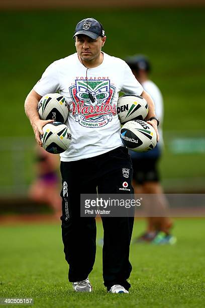 Warriors coach Andrew McFadden during a New Zealand Warriors NRL training session at Mt Smart Stadium on May 21 2014 in Auckland New Zealand