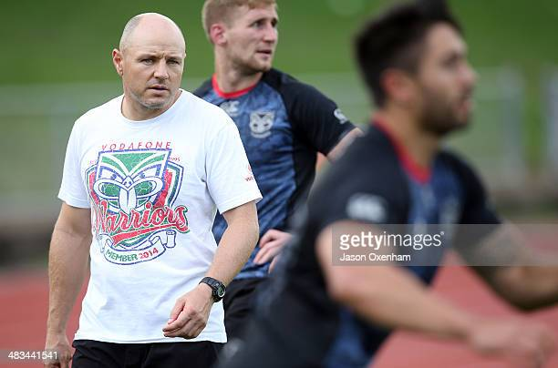 Warriors coach Andrew McFadden puts his new team through their paces at a New Zealand Warriors NRL training session at Mt Smart Stadium on April 9,...