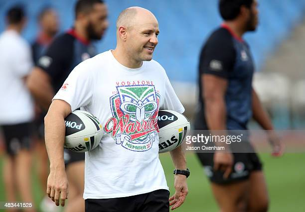 Warriors coach Andrew McFadden smiles as he puts his new team through their paces at a New Zealand Warriors NRL training session at Mt Smart Stadium...