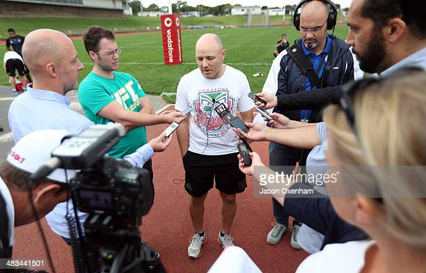 Warriors coach Andrew McFadden talks to the media after a New Zealand Warriors NRL training session at Mt Smart Stadium on April 9, 2014 in Auckland,...