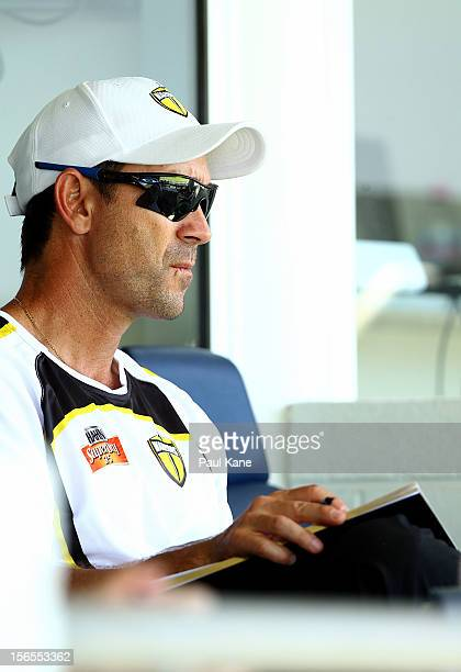 Warriors coach Justin Langer looks on during the Ryobi Cup One Day match between the Western Australia Warriors and the South Australian Redbacks at...