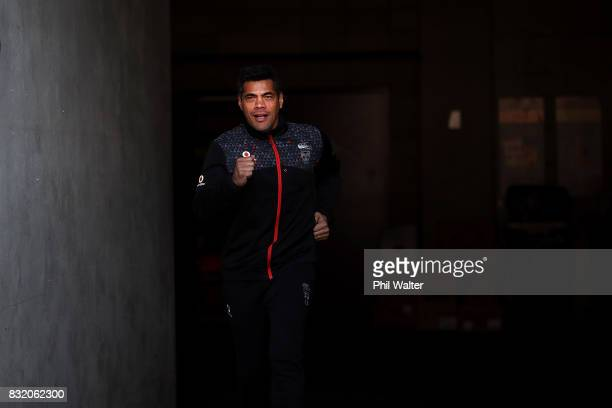 Warriors coach Stephen Kearney arrives to speak to media during a New Zealand Warriors NRL media session at Mt Smart Stadium on August 16 2017 in...
