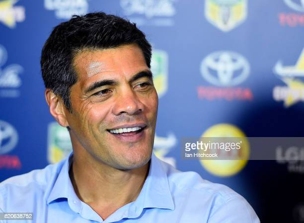 Warriors coach Stephen Kearney looks on at the post match media conference at the end of the round 20 NRL match between the North Queensland Cowboys...