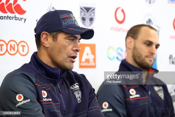 Warriors coach Stephen Kearney speaks as Simon Mannering holds a press conference to announce his retirement at Mt Smart Stadium on July 18, 2018 in...
