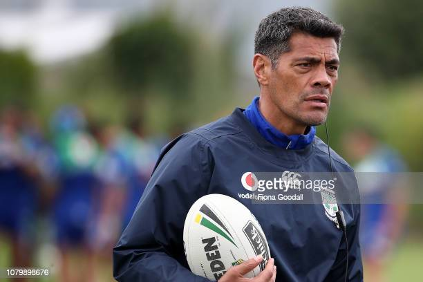 Warriors coach Stephen Kearney watches on during a New Zealand Warriors NRL media opportunity at Mount Smart Stadium on December 10 2018 in Auckland...