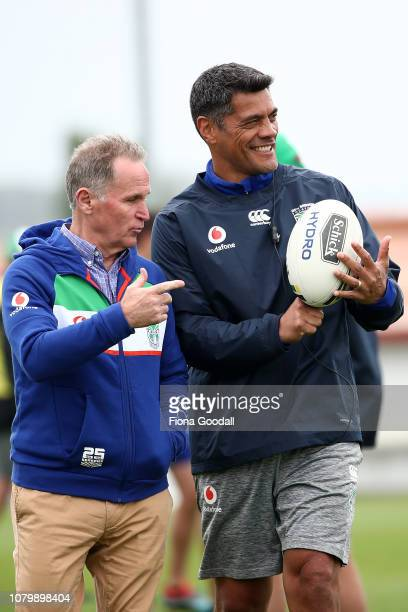 Warriors coach Stephen Kearney with football general manager Brian Smith during a New Zealand Warriors NRL media opportunity at Mount Smart Stadium...
