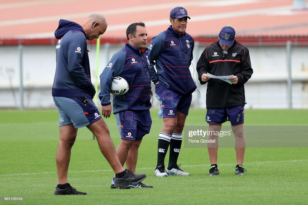 Warriors coaching team Stephen Kearney (CR) Andrew McFadden (R) Tony Iro (L) and Stacey Jones (CL) during a New Zealand Warriors NRL training session at Mt Smart Stadium on March 13, 2018 in Auckland, New Zealand.