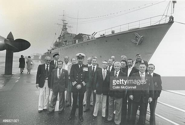 Warriors' Day Members of the wartime crew of HMCS Haida assemble behind the present captain of the destroyer Lt Commander F F Stockwell to celebrate...