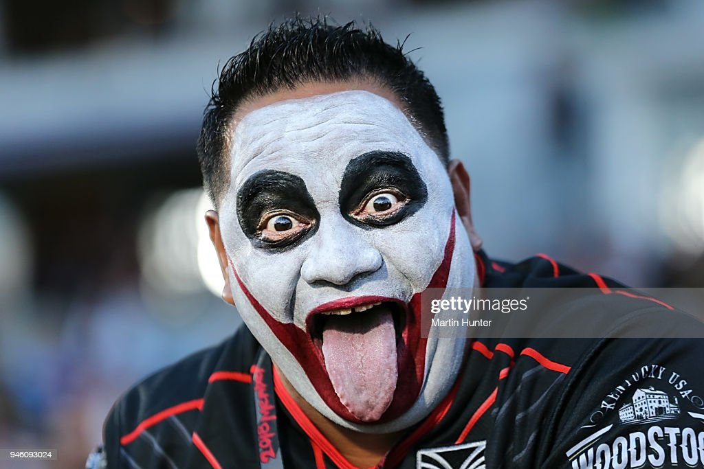A Warriors fan shows his support during the round six NRL match between the New Zealand Warriors and the Brisbane Broncos at Mt Smart Stadium on April 14, 2018 in Auckland, New Zealand.