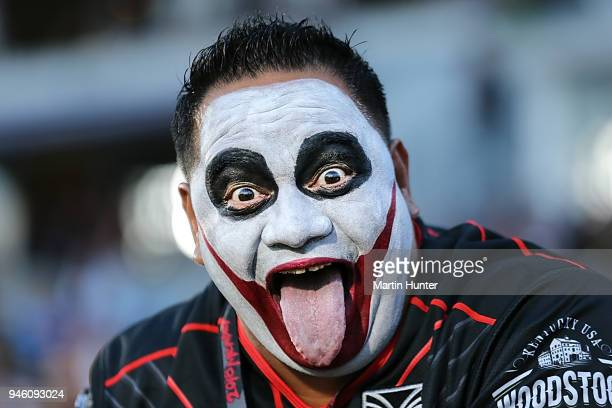 Warriors fan shows his support during the round six NRL match between the New Zealand Warriors and the Brisbane Broncos at Mt Smart Stadium on April...