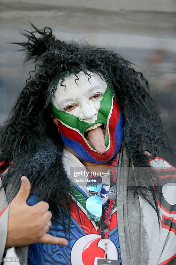 Warriors fans show their support during the round six NRL match between the New Zealand Warriors and the Brisbane Broncos at Mt Smart Stadium on April 14, 2018 in Auckland, New Zealand.