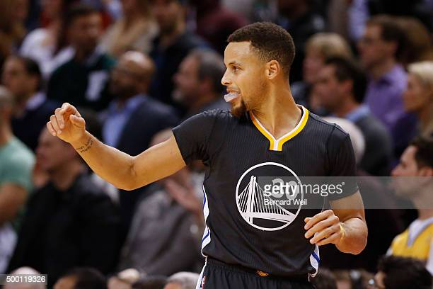 Warriors' guard Stephen Curry reacts at the end of the game scoring 44 points Toronto Raptors vs Golden State Warriors in NBA regular season action...
