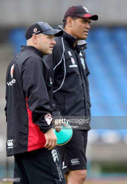 Warriors head coach Andrew McFadden and assistant coach Ricky Henry during a New Zealand Warriors NRL training session at Mt Smart Stadium on April...