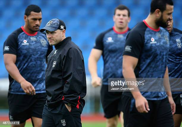 Warriors head coach Andrew McFadden during a New Zealand Warriors NRL training session at Mt Smart Stadium on April 29, 2014 in Auckland, New Zealand.