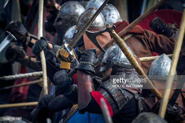 Warriors in battle, Festival of Slavs and Vikings, Centre of Slavs and Vikings, Jomsborg-Vineta, Wolin island, Poland. Slavic and Viking...
