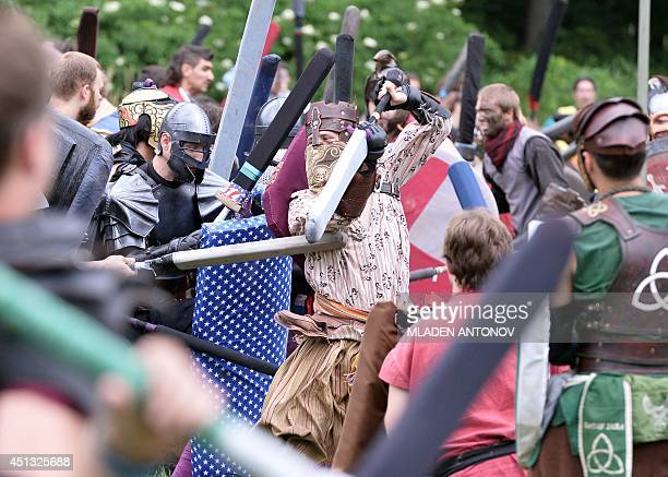 Warriors in full combat gear fight during a battle at the XXIX Dagorhir Ragnarok battle game event at a field near the town of Slippery Rock...