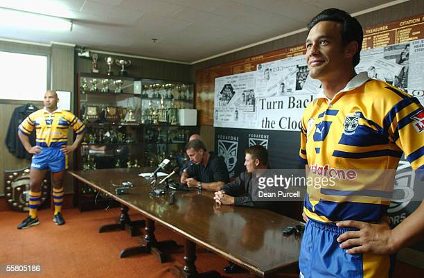 Warriors Logan swann and Jerry Seuseu at the press conference in the Replica Mt Albert strip for their encounter with the South Sydney Rabbitohs at...