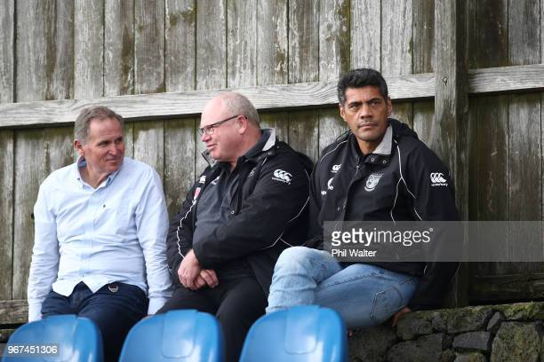 Warriors NRL coach Stephen Kearney and Warriors NRL football general manager Brian Smith look on during a New Zealand All Blacks training session on...