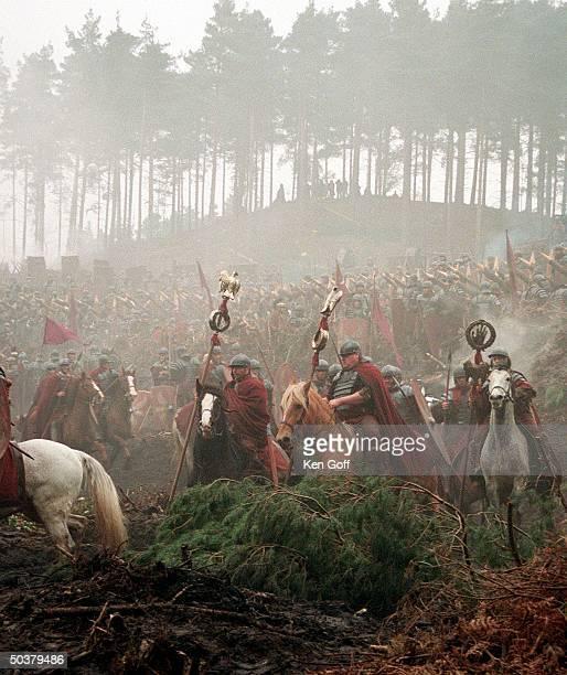 Warriors on horseback in movie Gladiator being filmed at Bourne Wood