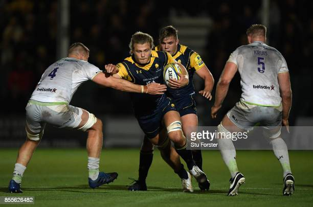 Warriors player David Denton in action during the Aviva Premiership match between Worcester Warriors and Saracens at Sixways Stadium on September 29...