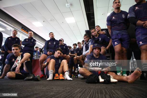 Warriors players look on as Simon Mannering holds a press conference to announce his retirement at Mt Smart Stadium on July 18 2018 in Auckland New...