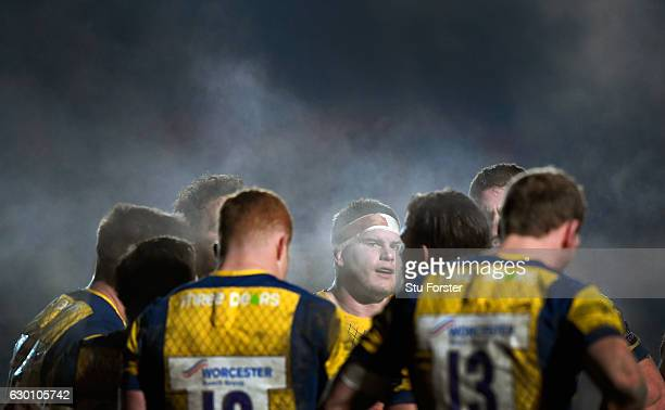 Warriors players look on from behind the try line after conceding another try during the European Rugby Challenge Cup match between Newport Gwent...