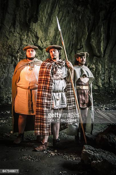 Warriors sheltering in a cave Illyrian civilisation mid3rd century BC Historical reenactment