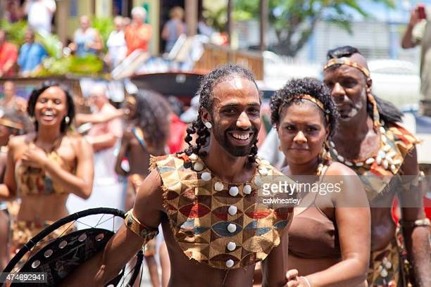 warriors troupes dancing during St. John Festival and Carnival, USVI