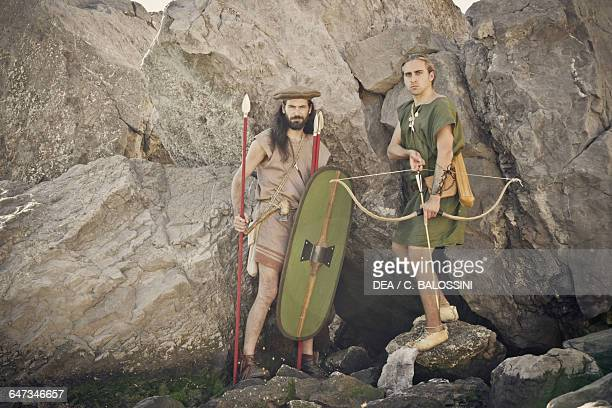 Warriors with shield spears and bow Illyrian civilisation mid3rd century BC Historical reenactment
