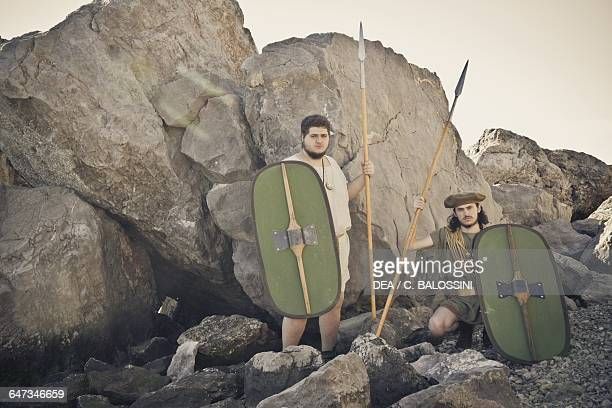 Warriors with shields and spears Illyrian civilisation mid3rd century BC Historical reenactment